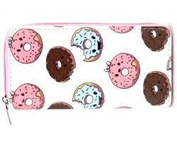 Multi Color Donut Pattern Zipper Wallet
