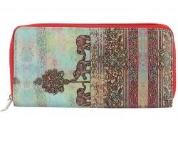 Multi Boho Elephant Watercolor Zipper Wallet