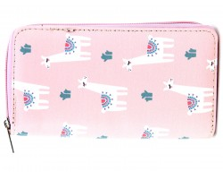 Pink White Llama Cactus Pattern Zipper Wallet