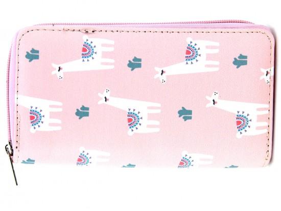 Pink White Llama Cactus Pattern Zipper Wallet