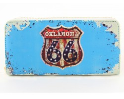 Turquoise Route 66 Sign Oklahoma Zipper Wallet