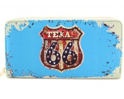 Turquoise Route 66 Sign Texas Zipper Wallet