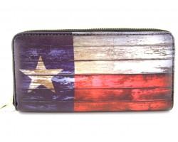 Texas Flag Distressed Zipper Wallet