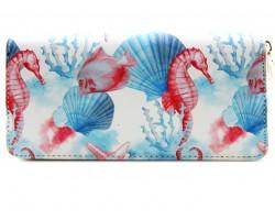 Multi Watercolor Sea Life Zipper Wallet