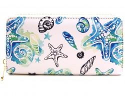 Multi Watercolor Sea Life Shells Zipper Wallet