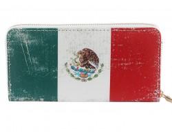 Mexican Flag Distressed Zipper Wallet