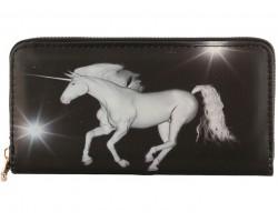 Black White Unicorn Zipper Wallet