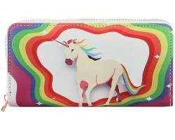 Multi Rainbow Unicon Zipper Wallet