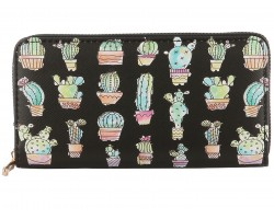 Multi Cactus Pots Pattern Zipper Wallet
