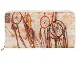 Brown Dream Catcher Pattern Zipper Wallet