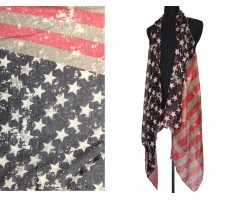 USA Flag Sleeveless Long Tailed Cardigan