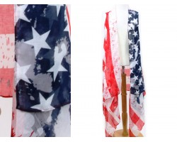 USA Flag Bright Distressed Sleeveless Long Cardigan