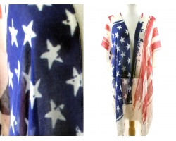 USA Flag Bright Distressed Long Kimono