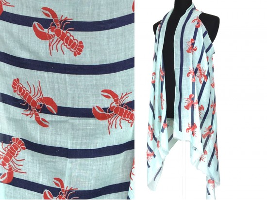 White Red Crawfish Stripe Sleeveless Cardigan