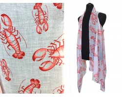 White Red Crawfish Sleeveless Cardigan