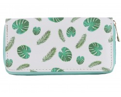 Green Fern Leaves Pattern Zipper Wallet