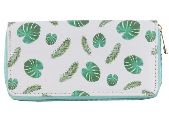 Green Fern Leaves Pattern Zipper Wallet