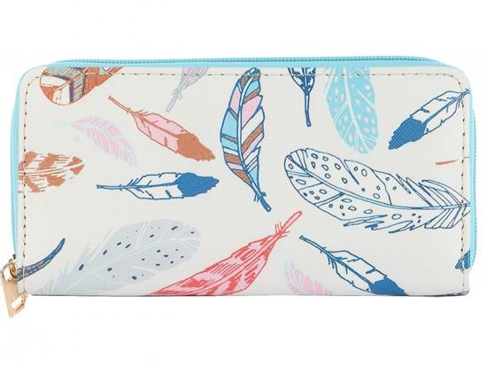 Multi Feather Pattern Vinyl Zipper Wallet