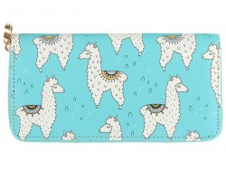 Light Blue Llama Vinyl Zipper Wallet