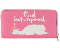 Pink Tired But Inspired Llama Vinyl Zipper Wallet