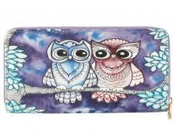 Blue Owls Vinyl Zipper Wallet