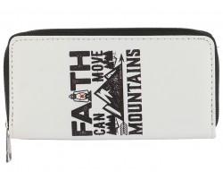 White Faith Can Move Mountains Vinyl Zipper Wallet