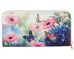 Multi Butterfly Flowers Vinyl Zipper Wallet