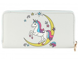 Multi Unicorn Moon Vinyl Zipper Wallet