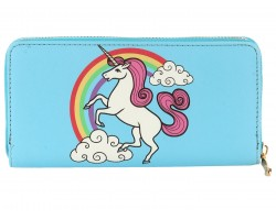 Blue Unicorn Rainbow Vinyl Zipper Wallet