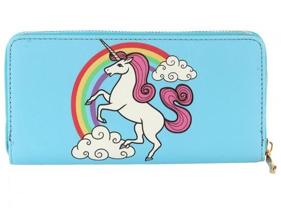 Blue Unicorn Rainbow Vinyl Zipper Wallet