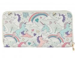 Multi Unicorn Rainbow Pattern Vinyl Zipper Wallet