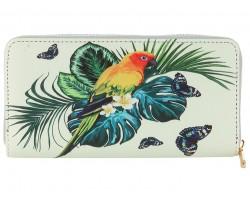 Multi Tropical Parrot Vinyl Zipper Wallet