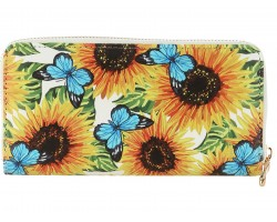Multi Butterfly Flower Pattern Vinyl Zipper Wallet