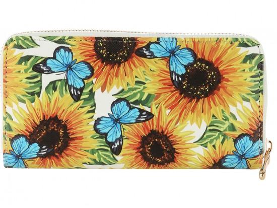 Multi Butterfly Flower Pattern Vinyl Zipper Wallet