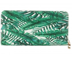 Green Leaves Pattern Vinyl Zipper Wallet