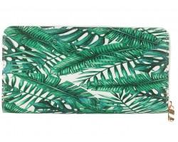 Green Leaves Pattern Vinyl Zipper Wallet