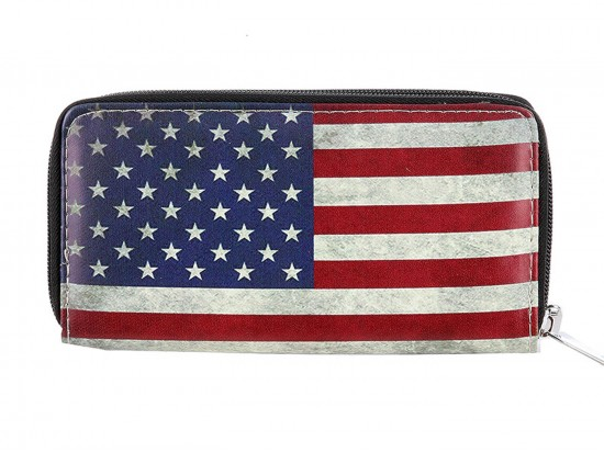 USA Flag Vinyl Double Pocket Zipper Wallet