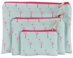 Pink Flamingo Pattern Makeup Bag 3pc