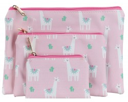Multi Llama Cactus Pattern Makeup Bag 3pc