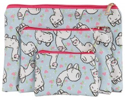 Multi Llama Hearts Pattern Makeup Bag 3pc
