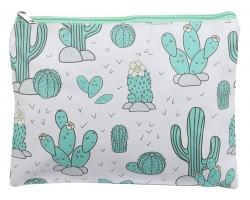 Green Cactus Pattern Zipper Makeup Bag