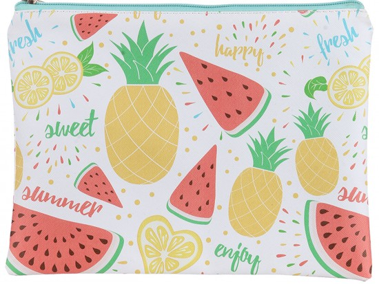 Multi Fruit Pattern Zipper Makeup Bag