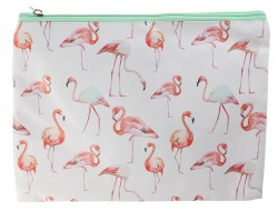 Pink Flamingo Pattern Zipper Makeup Bag