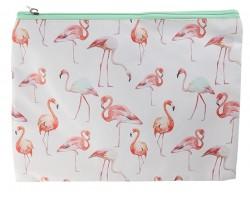 Pink Flamingo Pattern Zipper Makeup Bag