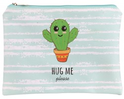 Green Hug Me Please Cactus Zipper Makeup Bag