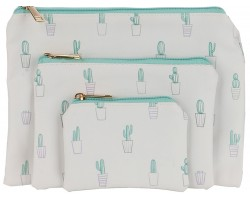 Green Cactus in Pots Pattern Makeup Bag 3pc