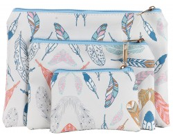 Multi Feathers Pattern Makeup Bag 3pc
