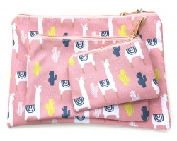 Multi Llama Cacti Pattern Makeup Bag 3pc