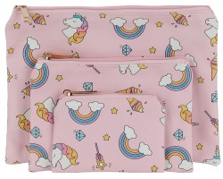 Multi Unicorn Rainbow Pattern Makeup Bag