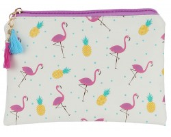 Multi Flamingo Pineapple Zipper Makeup Bag